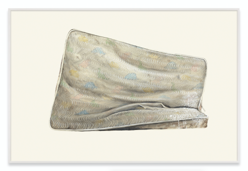 Ed Ruscha, Metro Mattress #9, 2015, Acrylic and pencil on museum board paper. 40 1/8 x 60 inches. Copyright Ed Ruscha, Courtesy of the artist, Gagosian Gallery and Sprueth Magers