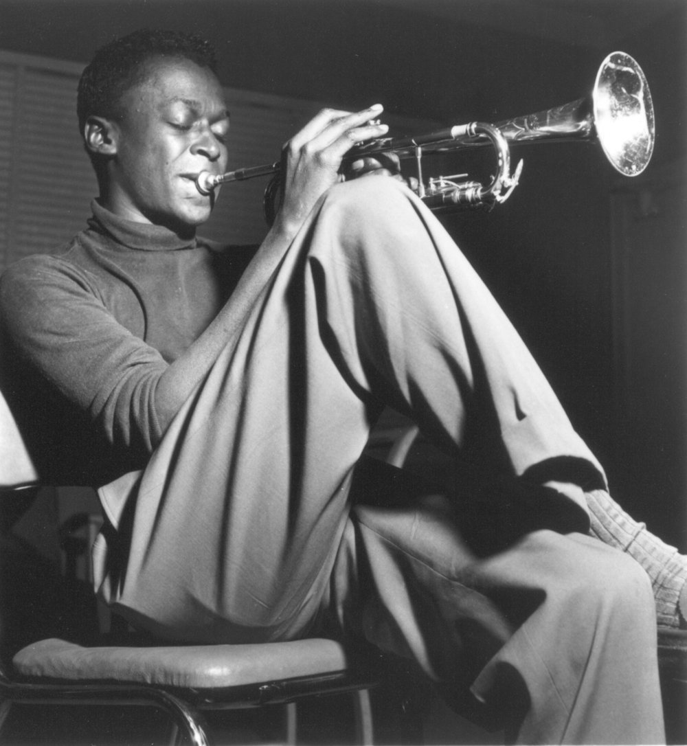 Miles Davis in the 1940s, photograph by Francis Wolff