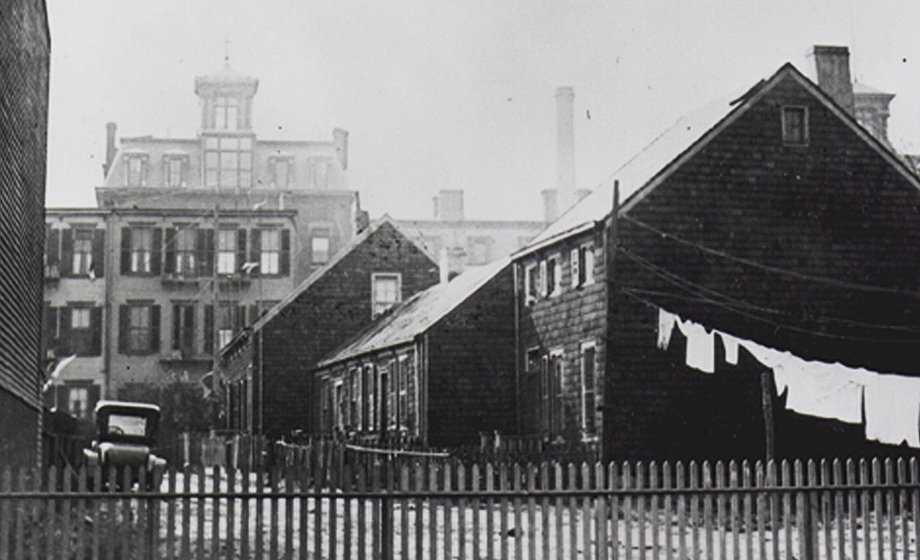A black-and-white photo of Colored School No. 2 (PS 68) in Weeksville, Brooklyn.