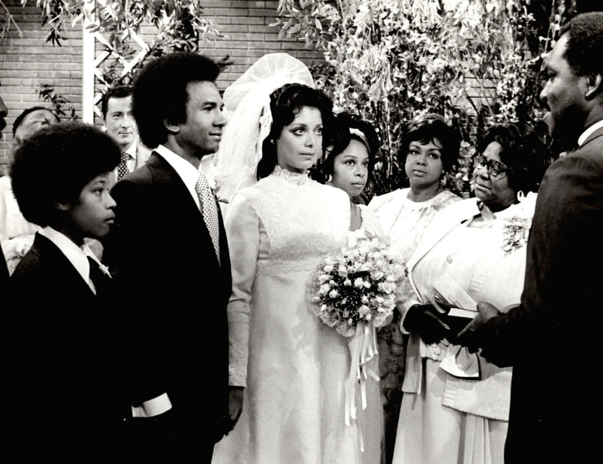 A picture of a wedding staged on an episode of the soap opera One Life to Live.